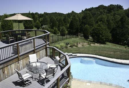 multilevel: Backyard Piscina in estate con circostante multi-livello del ponte