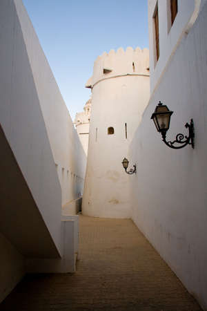 Interior alley in old fort in Abu Dhabi in UAE in Middle East photo