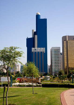 Vertical format of blue office building in Abu Dhabi in UAE Stock Photo - 3798004
