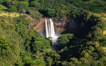 Aerial view of Wailua Falls in Kauai photo