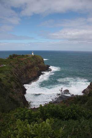 promontory: View of Kilauea Lighthouse on a rocky promontory off the coast of Kauai