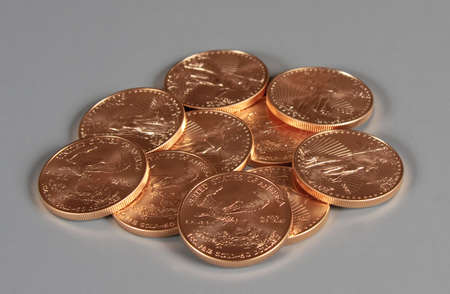treasury: Stack of US Treasury 1 oz Eagle Gold Coins Stock Photo