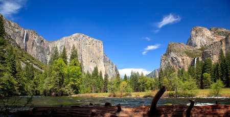 View into Yosemite Valley with cedar colored log in foreground photo