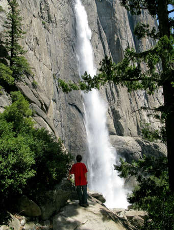 View of the Yosemite Falls from hike alongside the waterfall Stock Photo - 4924251