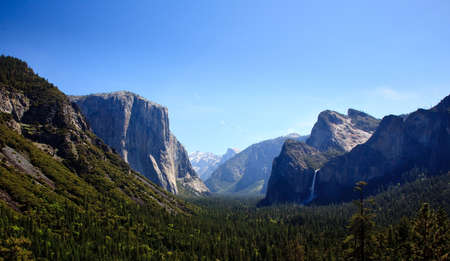 Overview of Yosemite valley on clear blue sunny day photo