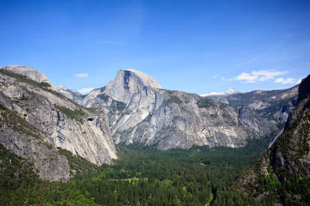 Wooded valley of Yosemite with Half Dome in the distance Stock Photo - 5300261