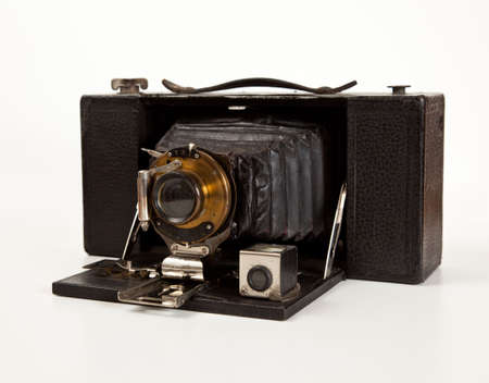 bellows: Antique bellows camera in side view isolated on white Stock Photo