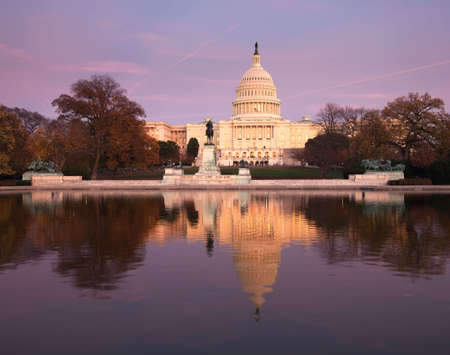 Washington DC view of the Capital Building and dome reflected in the calm water Stock Photo - 5985643