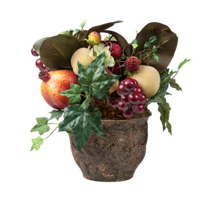 arrangment: Various fruits in an arrangment in a vase for Christmas decoration