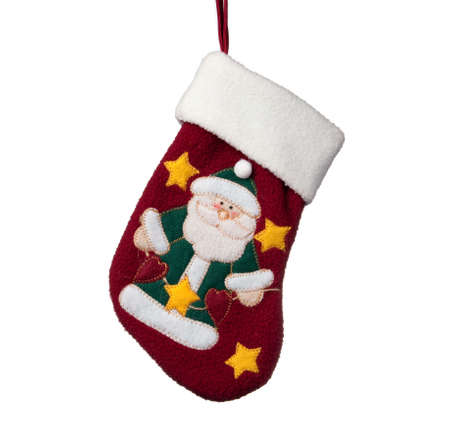 close up of child s christmas stocking isolated against a white