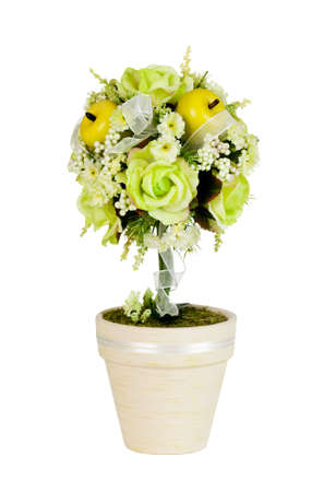 Decoration for spring showing green roses and apples in a tree form Stock Photo