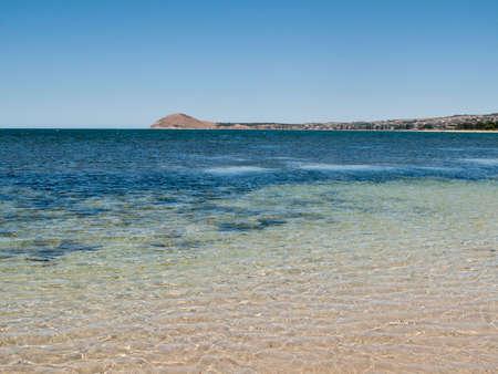 adelaide: Broad beach and sea scene at Granite Island near Victor Harbor near Adelaide in Australia