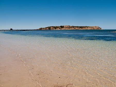 Broad beach and sea scene at Granite Island near Victor Harbor near Adelaide in Australia Stock Photo - 6222929