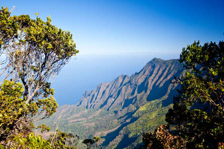 na: View over Kalalau Valley on Na Pali Coast in Kauai Stock Photo
