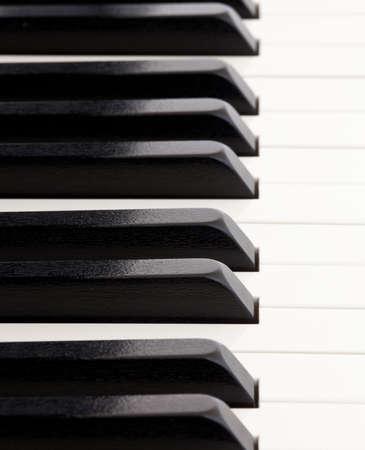 Macro opname kwaliteit piano toetsen van grand piano, met focus terugwijkende beide heen en weer