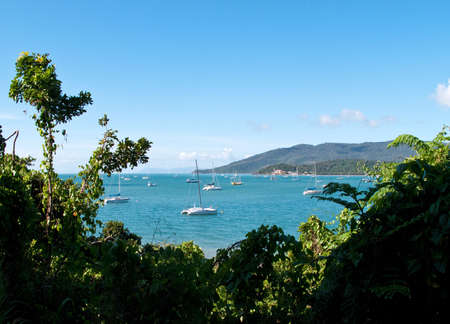 whitsunday: Whitsundays in Australia showing yachts at anchor in the bay