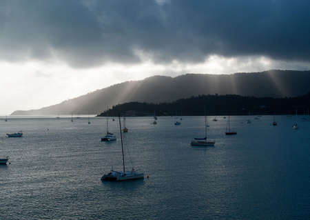 whitsundays: Whitsundays in Australia showing yachts at anchor in the bay