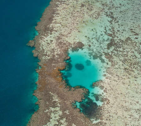 Aerial view of Great Barrier Reef off the coast of Australia photo