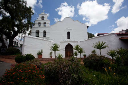 Broad front of the church of the Mission de Alcala near San Diego in California photo