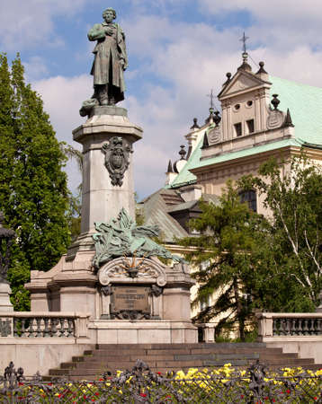 Statue of Adam Mickiewicz in Warsaw in Poland. Famous Poet and Patriot photo