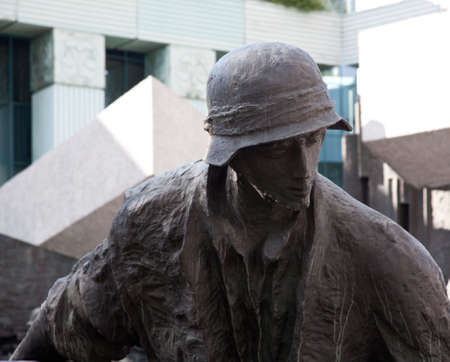 Close up of the statues in the memorial to the Warsaw Uprising in Poland