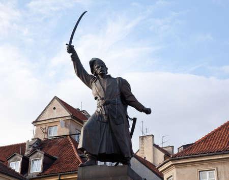 Statue of Jan Kilinski in Old Town Warsaw in Poland