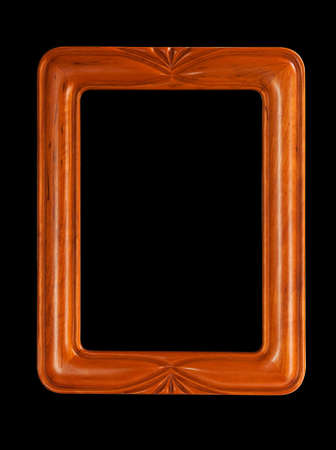 Isolated teak colored carved picture frame against black Stock Photo - 7322589