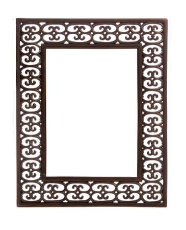 Isolated bronze colored carved picture frame against white Stock Photo - 7339894