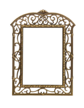 Isolated brass colored carved picture frame against white Stock Photo - 7339898