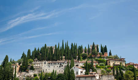 Verona in Italy showing Teatro Romano above the town