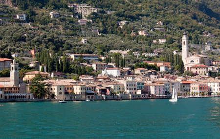 Town tower in Maderno on banks of Lake Garda photo