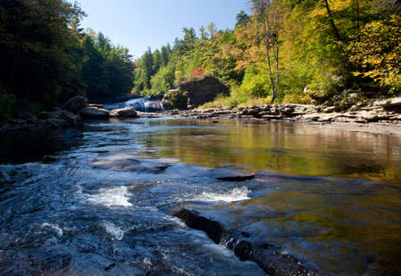 pine creek: Upper falls in Swallow Falls State Park in Maryland USA Stock Photo