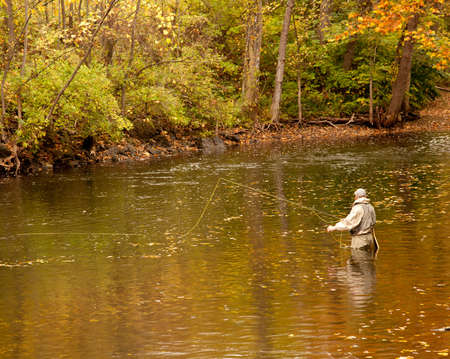 changing colors: Angler fishing in a deep river in fall with the leaves changing colors