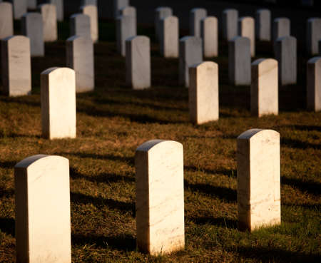 Gravestones lit by the setting sun in Arlington Cemetery photo