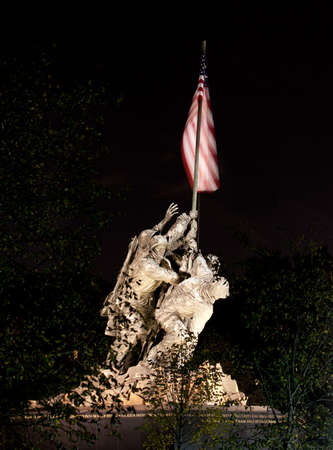 Statue commemorating Iwo Jima at night lit by floodlights and seen through the trees and branches