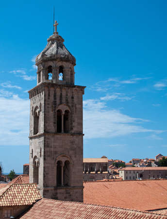 Church tower and rooftops of Dubrovnik photo