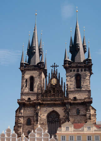 tyn: Twin towers of Tyn cathedral in Prague Stock Photo