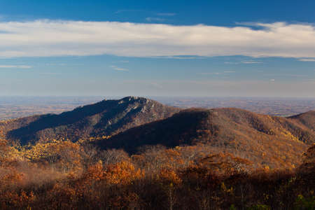 View of Old Rag in Shenandoah from Skyline drive in the late fall as the sun is low in the sky photo