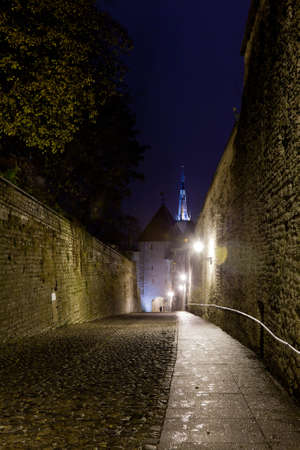 Luhike street leads to the old town of Toompea in Tallinn Estonia on a wet dark night Stock Photo - 8287366