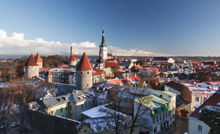 overlook: Overview of Tallinn in Estonia taken from the overlook in Toompea showing the town walls and churches
