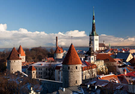 Overview of Tallinn in Estonia taken from the overlook in Toompea showing the town walls and churches Stock Photo - 8287393