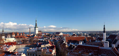 Overview of Tallinn in Estonia taken from the overlook in Toompea showing the town walls and churches Stock Photo - 8287252