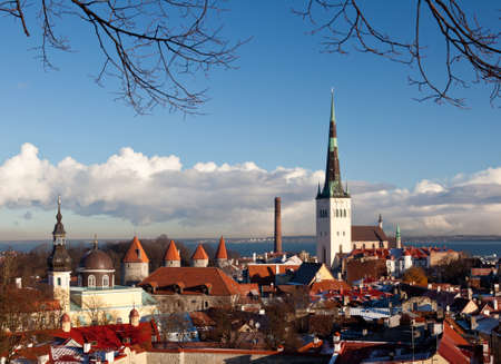 Overview of Tallinn in Estonia taken from the overlook in Toompea showing the town walls and churches Stock Photo - 8287352