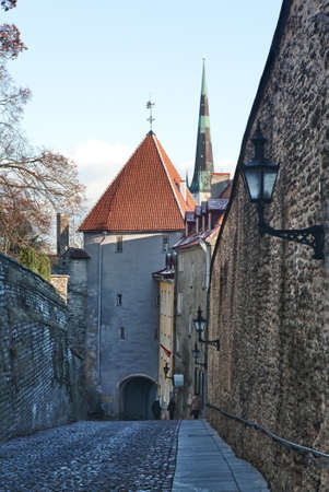 Luhike street leads to the old town of Toompea in Tallinn Estonia taken with HDR to enhance the detail in the walls Stock Photo - 8287370