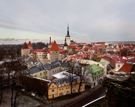 Overview of Tallinn in Estonia taken from the overlook in Toompea showing the town walls and churches Stock Photo - 8287388