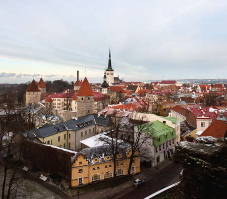Overview of Tallinn in Estonia taken from the overlook in Toompea showing the town walls and churches Stock Photo - 8287353