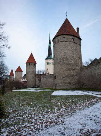 Ancient stone walls of Tallinn with four towers in alignment Stock Photo - 8287392