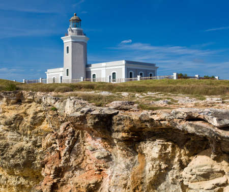 cabo: Los Morillos lighthouse on south west corner of Puerto Rico near Cabo Rojo
