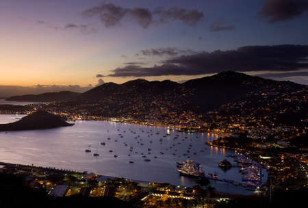 thomas: Aerial view of Charlotte Amalie Harbour in St Thomas at sunset Stock Photo