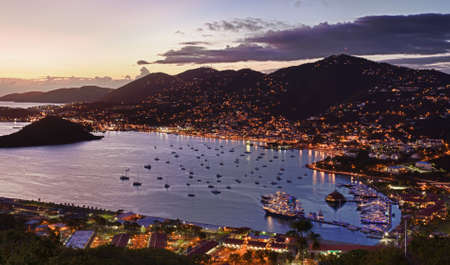 caribbean island: Aerial view of Charlotte Amalie Harbour in St Thomas at sunset Stock Photo
